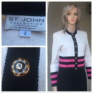 St. John collection ivory/black/pink jacket size 2